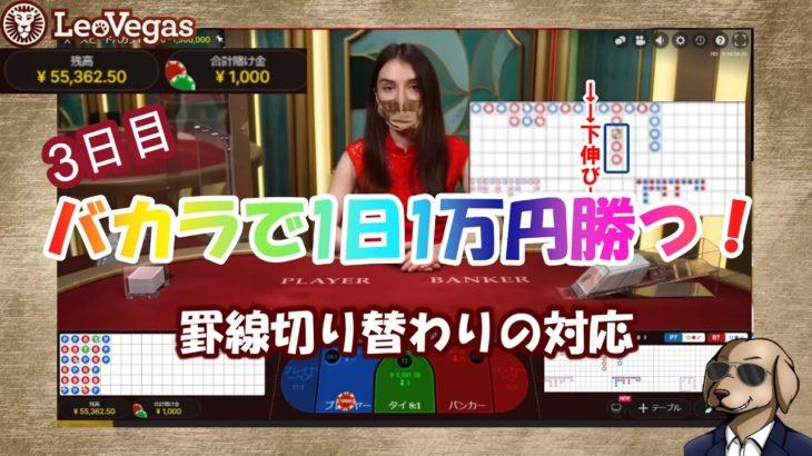 【オンラインカジノ】#03 バカラで1日1万円勝つ!3日目 罫線切り替わりの対応【レオベガスカジノ】
